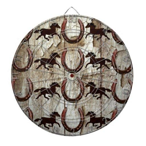 Herraduras de los caballos en los regalos de mader tablero de dardos