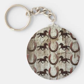 Herraduras de los caballos en los regalos de mader llavero redondo tipo pin