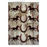 Herraduras de los caballos en los regalos de mader felicitacion