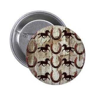 Herraduras de los caballos en los regalos de pin redondo de 2 pulgadas