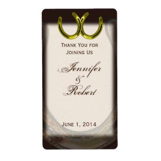 Herraduras de oro en etiqueta del vino de Brown Etiqueta De Envío