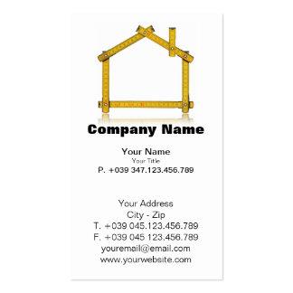 Herramienta de madera del metro de la casa de la t tarjetas de visita