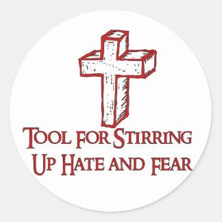 Herramienta del odio pegatina redonda