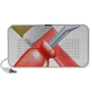 Herramientas cruzadas del cepillo y del destornill iPod altavoz