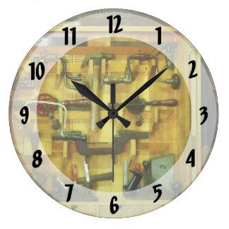 Herramientas de la carpintería reloj redondo grande