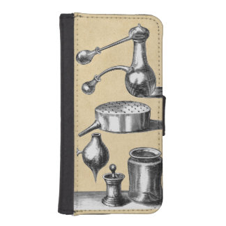 Herramientas de la destilación en un laboratorio fundas billetera para teléfono
