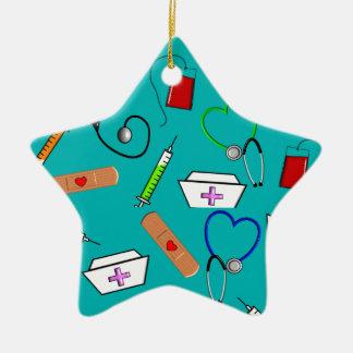 Herramientas de la enfermera adorno navideño de cerámica en forma de estrella