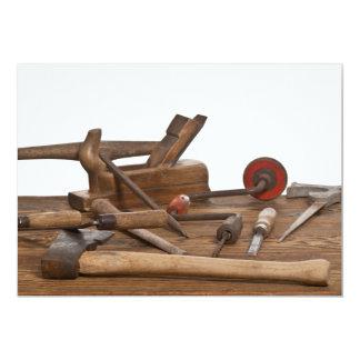 Herramientas de madera del carpintero invitación 12,7 x 17,8 cm