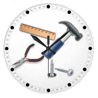 Herramientas del carpintero reloj redondo grande