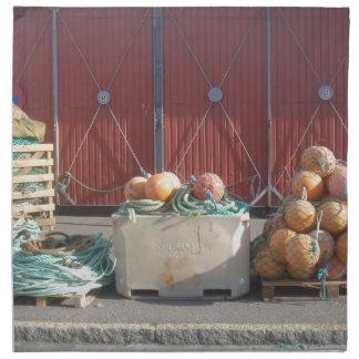 Herramientas del comercio de la pesca servilleta imprimida
