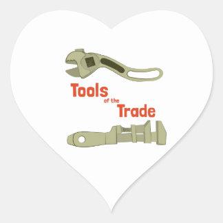 Herramientas del comercio pegatina en forma de corazón