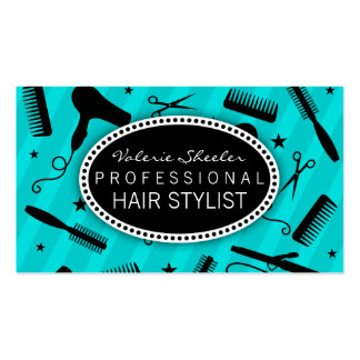 Herramientas del salón de pelo azul y negro del tr tarjetas de visita