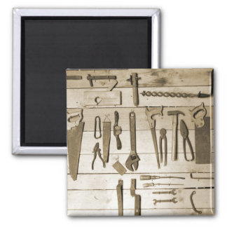 Herramientas en la pared de madera imán para frigorífico