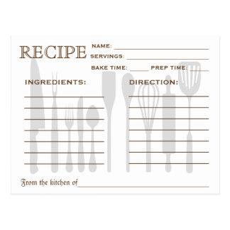Herramientas retras de la cocina de la tarjeta de tarjetas postales