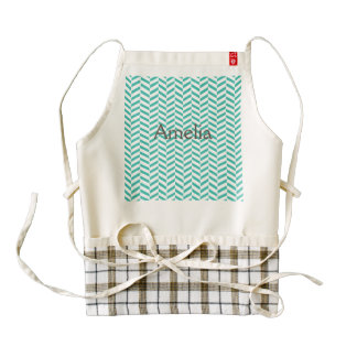 Herrinbone pattern,green,white,chic,elegant,trendy zazzle HEART apron