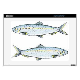 """Herring Fish Sketch 15"""" Laptop Skin"""