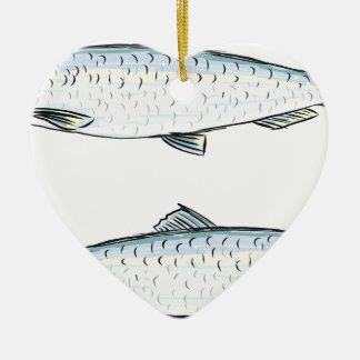 Herring Fish Sketch Ceramic Ornament