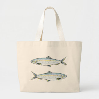 Herring Fish Sketch Large Tote Bag