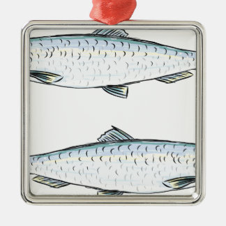 Herring Fish Sketch Metal Ornament