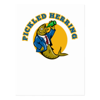 Herring fish suit drinking beer bottle post cards