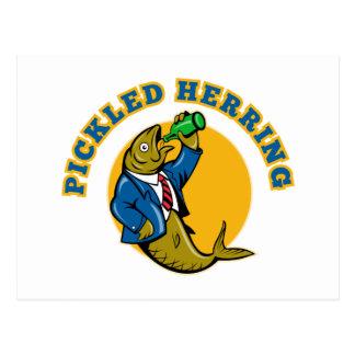 Herring fish suit drinking beer bottle postcard