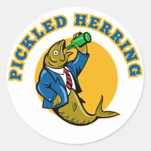 Herring fish suit drinking beer bottle round sticker