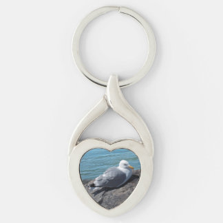 Herring Gull on Rock Jetty Keychain