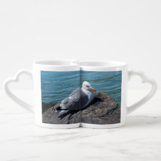 Herring Gull on Rock Jetty Lovers Mug Sets