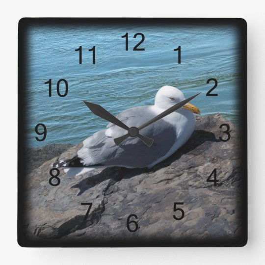 Herring Gull on Rock Jetty Square Wall Clock