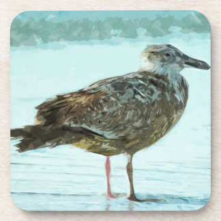 Herring Gull on the Beach Abstract Beverage Coaster