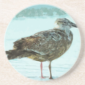 Herring Gull on the Beach Abstract Sandstone Coaster