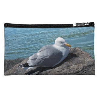 Herring Gull Resting on Rock Jetty Cosmetic Bag