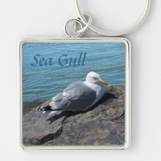 Herring Gull Resting on Rock Jetty: Silver-Colored Square Keychain