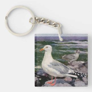 Herring Gulls on a Rocky Shoreline Keychain