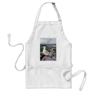 Herring Gulls on Rocky Shoreline Apron
