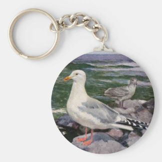Herring Gulls on Rocky Shoreline Keychain