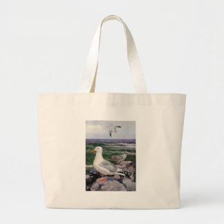 Herring Gulls on Rocky Shoreline Large Tote Bag