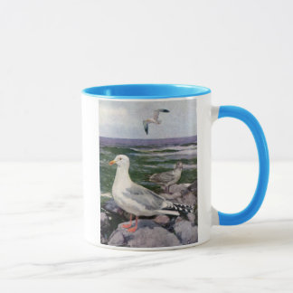 Herring Gulls on Rocky Shoreline Mug