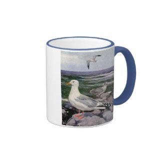 Herring Gulls on Rocky Shoreline Ringer Coffee Mug