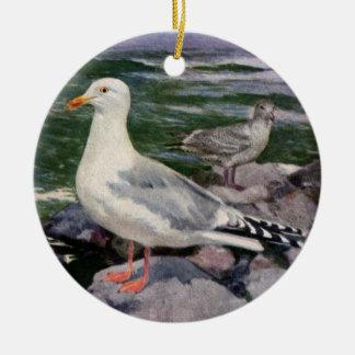 Herring Gulls on Rocky Shoreline Christmas Ornament