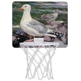 Herring Gulls on Rocky Shoreline Mini Basketball Backboard