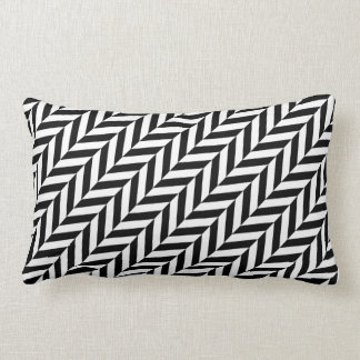 HERRINGBONE (a black & white design) ~ Lumbar Pillow