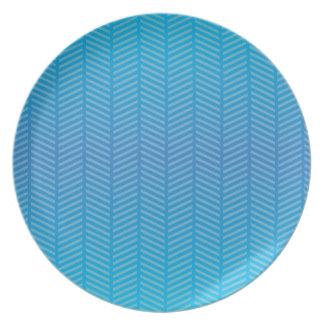 Herringbone Blue Aquamarine Plates