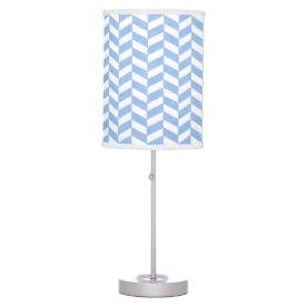 Herringbone Blue White Beach Colors Table Lamps