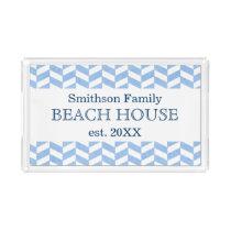 Herringbone Blue White Beach House Custom Acrylic Tray