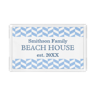 Herringbone Blue White Beach House Custom Acrylic Tray
