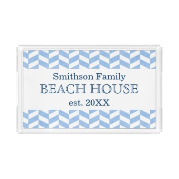 FancyCelebration Herringbone Blue White Beach House Custom Acrylic Tray