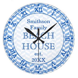 Herringbone Blue White Beach House Custom Clocks