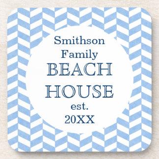Herringbone Blue White Beach House Custom Coaster