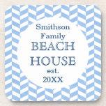 Herringbone Blue White Beach House Custom Drink Coasters